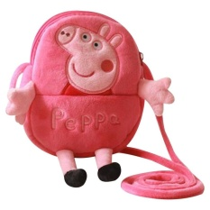 b99f1745d96b PHP 948 2017 New Arrival Cartoon Smile Pink Pig George Little Pig Animal  Plush Doll Backpack Shoulder Bag Children School ...