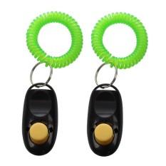 2Pcs Pet Dog Cat Button Click Clicker Trainer Training Obedience Aid Wrist Strap Black - intl