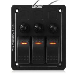 3 Gang Aluminum LED Waterproof Rocker Switch Panel Marine/Boat