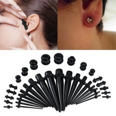 36pcs Acrylic Tapers & Flesh Tunnels Ear Gauges Stretching Expanding Kit 14G-00G(Black