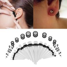 36pcs Acrylic Tapers & Flesh Tunnels Ear Gauges Stretching Expanding Kit 14G-00G(Transluce