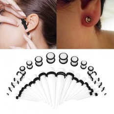 36pcs Acrylic Tapers & Flesh Tunnels Ear Gauges Stretching Expanding Kit 14G-00G(White
