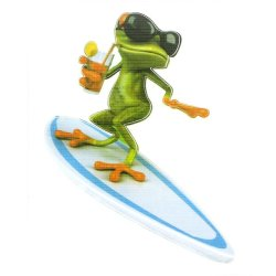 3D Surfing Frog Car Sticker