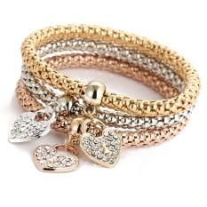 3pcs Charm Women Bracelet Gold Silver Rose Gold Rhinestone Bangle Jewelry Set - intl