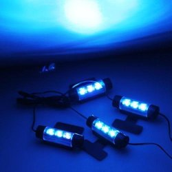 4 x 3 Blue LEDs Glow Neon Decoration Interior light Lamp for Car
