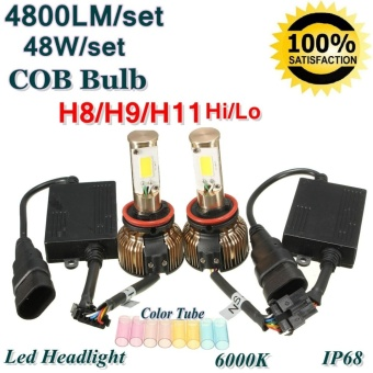 48W H7 COB Bulb LED Hi/Lo Headlight Conversion Kit 4800LM 6000K w/ Color Tubes - intl