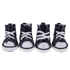 ec2e4772ff2e 4pcs Denim Pet Dog Shoes Anti-slip Waterproof Sporty Sneakers Booties(Blue)-