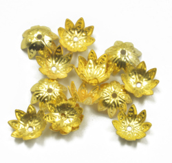 50Pcs 10mm Gold Plated Metal Flower Bead Caps