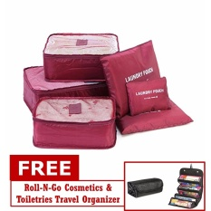 719589b5f4 Philippines. 6 in 1 Travel Packing Bags (Maroon) with Roll-N-Go Organizer