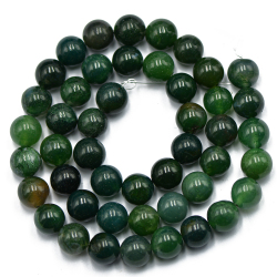 8mm Nature Green Moss Agate Gemstone Loose Spacer Beads 15'' Round