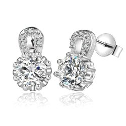 925 Silver Plated Crystalline Earrings