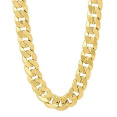 9mm 14k Gold Plated Concave Cuban Link Curb Chain Necklace, 24
