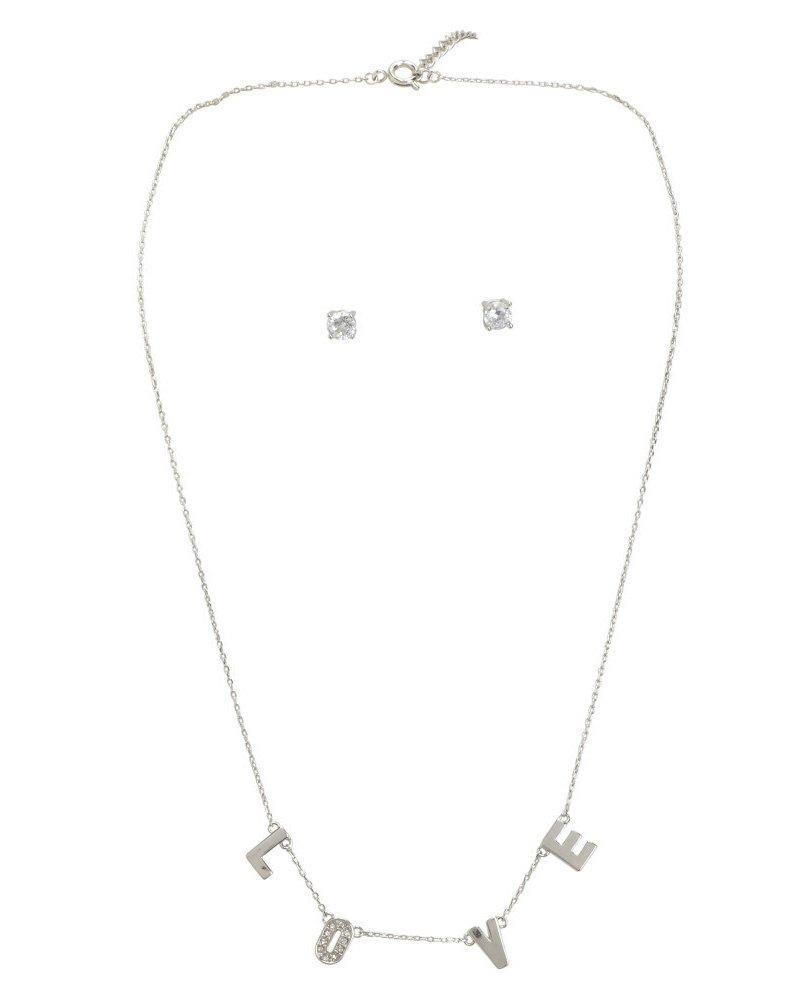 Aeropostale Glitz Stud Earrings & Love Short-Strand NecklaceSet
