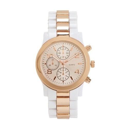 Aeropostale Women's Two-Tone White Metallic Strap Watch 1778