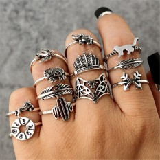 Ai Home 12Pcs/Set Women Punk Vintage Carved Animal Catcus Feather Finger Ring Set Fashion