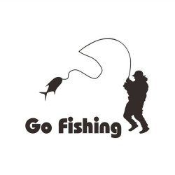 Amango Car Stickers Black Go Fishing
