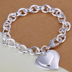 Amart Sterling Silver Light Double Heart Card Rough Chain Bracelet(Silver) - Intl