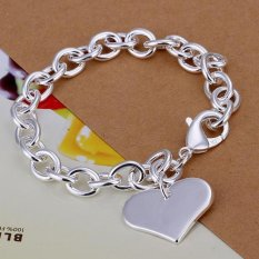 Amart Sterling Silver Light Heart Card Rough Chain Bracelet (Silver) - Intl