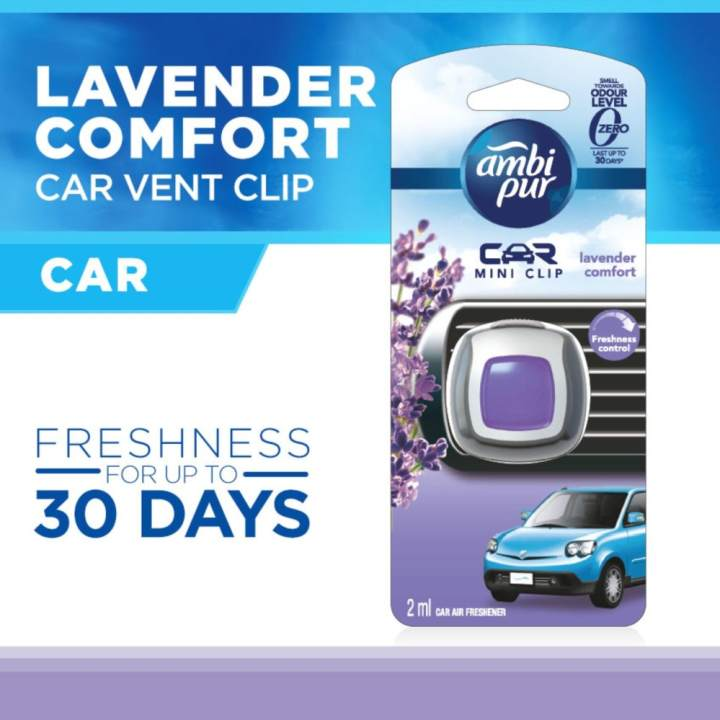 Ambi Pur Car Mini Clip Lavender Comfort Car Air Freshener 2ml (Lavender)