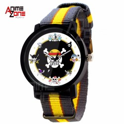 ANIME ZONE Strawhat Luffy Pirates Member's Emblem Nylon Watch (Yellow /Black)