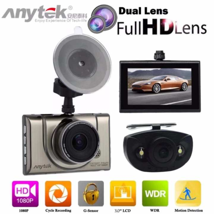 Anytek A100H Full HD 1080P With Rear Cam Night Vision Car DVR Dual Dashcam