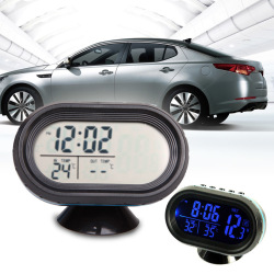 Auto Car Digital Thermometer Voltage Meter LCD Monitor Clock (Blue) - INTL