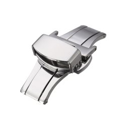 Automatic Double Click Butterfly Buckle Watch Push Button Fold Deployment Watchband Clasp Strap Buckles 16mm - intl