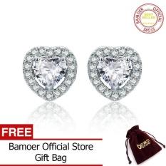 BAMOER Free Shpping 925 Sterling Silver Double Heart Love Stud Earrings for Women Clear CZ Silver