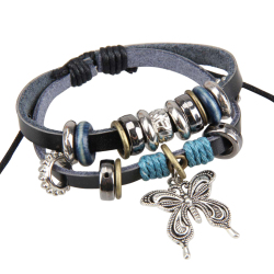Beautiful Butterfly Pendant Girl Lady Braid Bracelet String Band Bangle