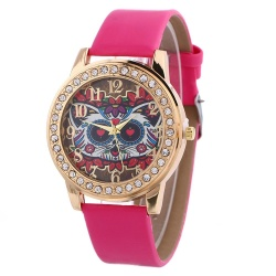 Bessky Simple Pattern Fashion Diamond Leather Watch Black - intl