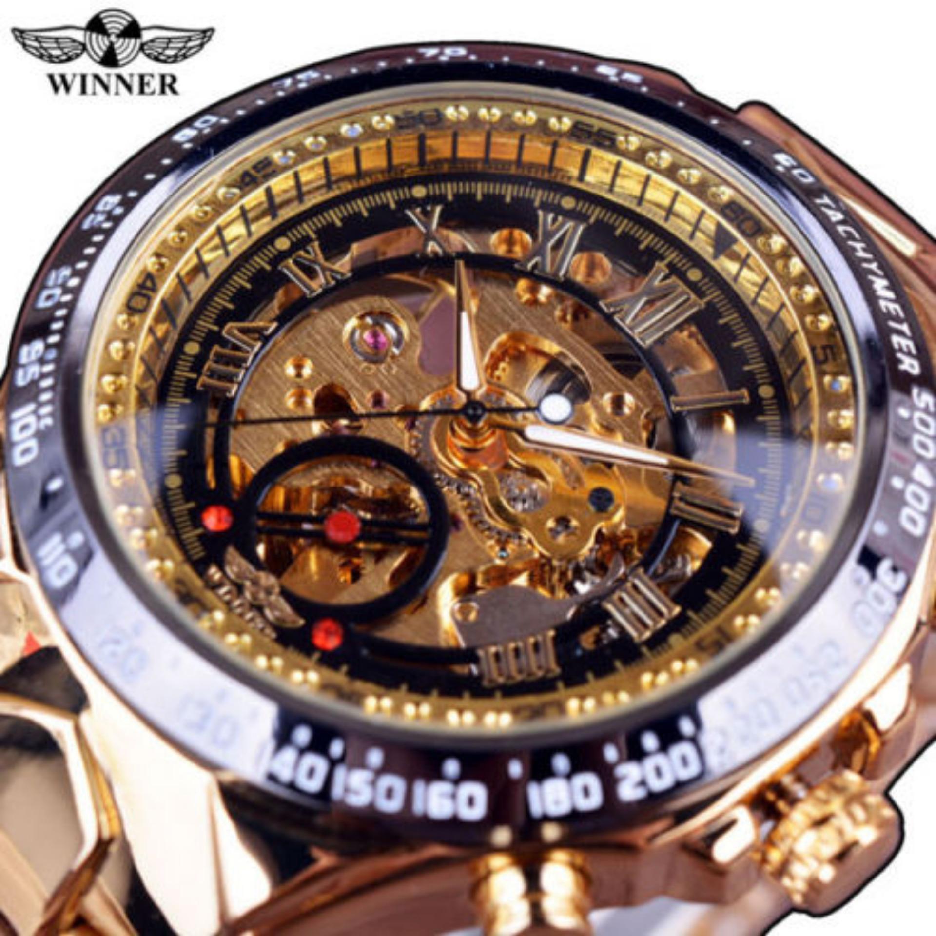 BEST SELLING Noble Sports Men's Automatic Mechanical Watch Metal Skeleton Winner (Black Gold) - intl