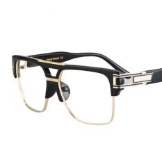 21a5a80916 Black Gold Eyeglasses Frames Men Women Half Frame Big Square Glasses Frames  for Men Highh Quality
