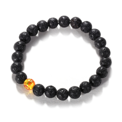 Black Lava Rock Beaded Shamballa Stretch Energy Bracelet