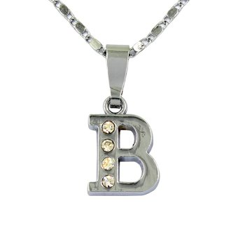 Bling Bling Alphabet Necklace Letter B (Silver)