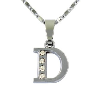Bling Bling Alphabet Necklace Letter D (Silver)