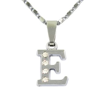 Bling Bling Alphabet Necklace Letter E (Silver)