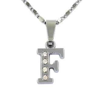 Bling Bling Alphabet Necklace Letter F (Silver)