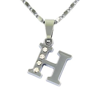 Bling Bling Alphabet Necklace Letter H (Silver)