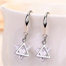 Blue Eyes Fashion Women Earrings Silver Ear Hook Triangle