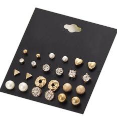 BODHI 12 Pair/Set Imitation Pearl Heart Love Crown Triangle Stud Earring Lady Jewelry (