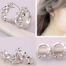BODHI Women Elegant Flower Shiny Rhinestone Huggie Hoop Earrings Silver Plated Jewelry - intl