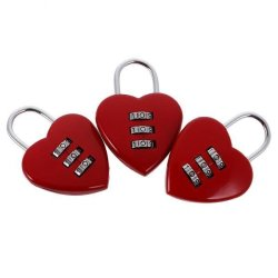 BolehDeals 3 Pieces Lovely Heart Resettable Combination Padlock Travel Locker Set Red - intl