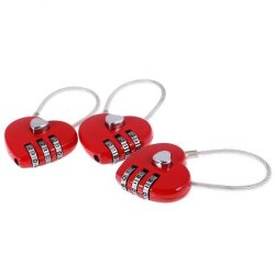 BolehDeals 3 Pieces Lovely Heart Resettable Wire Combination Padlock Travel Lock Red - intl