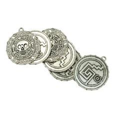 BolehDeals 6 Pcs Tibetan Silver Caribbean Aztec coin Medallion Skull Necklace Pendant - intl