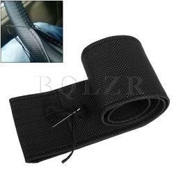 Breathable Leather DIY Car Steering Wheel Cover? Black
