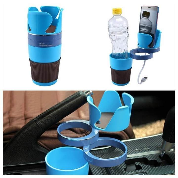 burmab Adjustable Car Cup Holder 5 In 1 Car Cup Holder Adapter 3 360°Rotation Layers Create More Space For Collection Car Storage Cup - intl