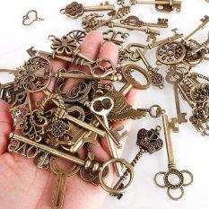 BUYINCOINS 69Pcs Antique Vintage Bronze Skeleton Key Charms Set DIY Necklace Pendant Jewelry Handmade Making -