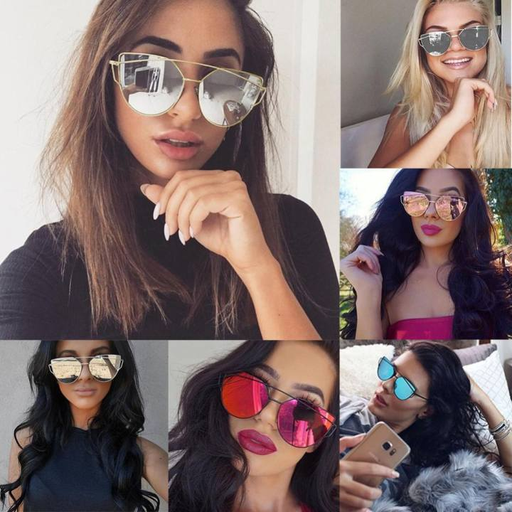 BUYINCOINS Fashion Women Twin-beams Photochromic Sun Glasses Golden Alloy Galss Frame Outdoor Glasses Cat Eye Sunglasses(Gold frame pink) - intl