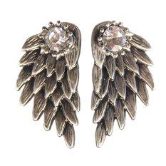 Buytra 1pair Pretty Women Cool Jewelry Angel Wings Rhinestone Alloy Drop Stud Earrings Ancient Silver