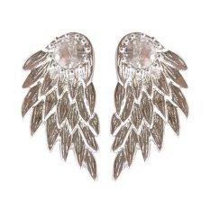 Buytra 1pair Pretty Women Cool Jewelry Angel Wings Rhinestone Alloy Drop Stud Earrings Silver